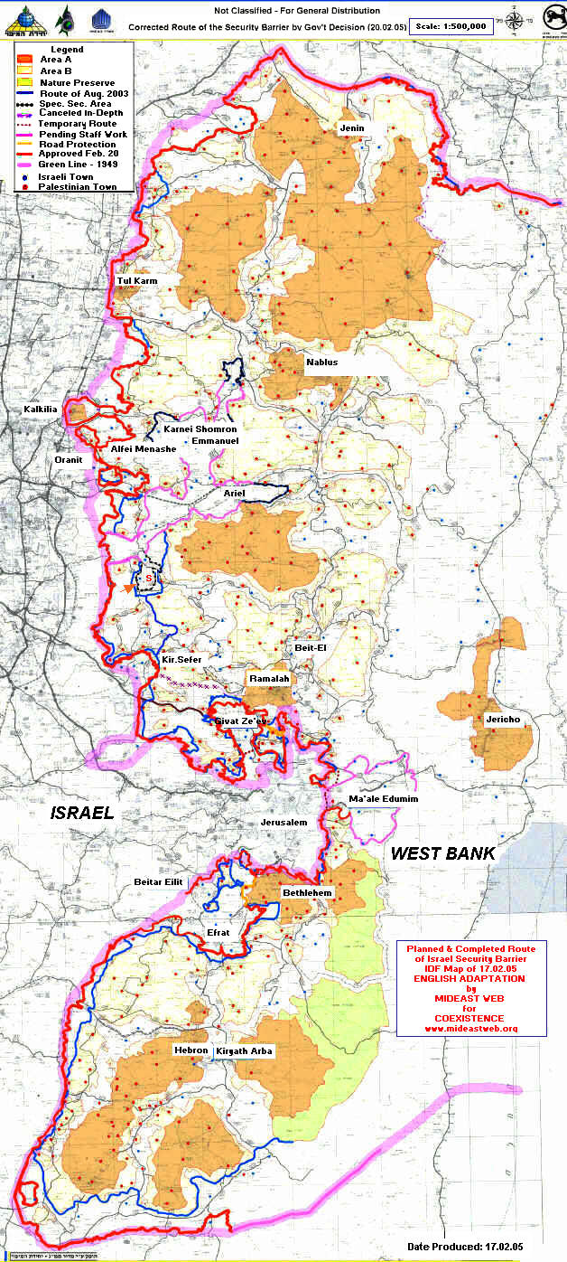 Security Map Map Israel Security Fence