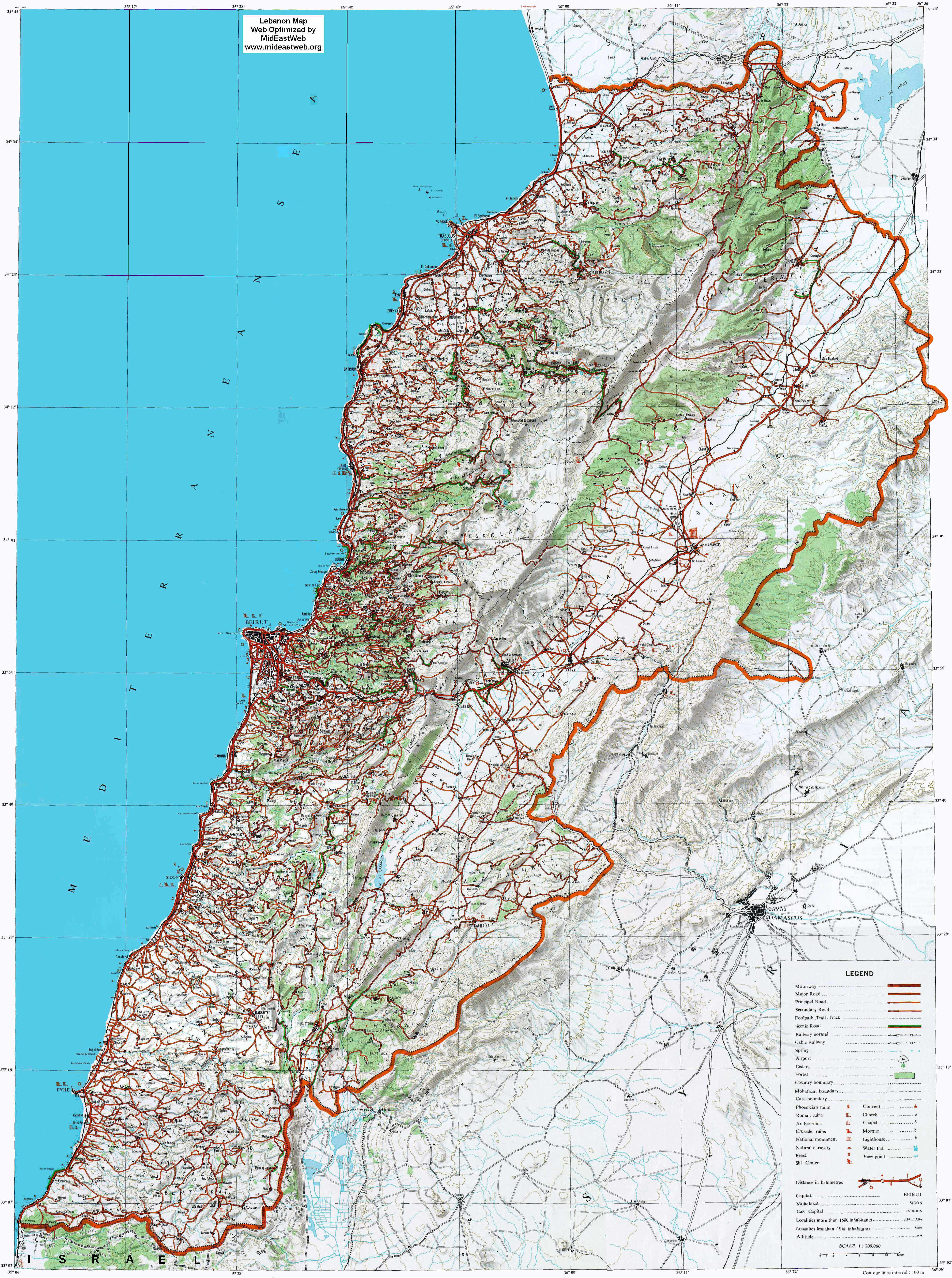 Lebanon Map- Detailed, Optimized