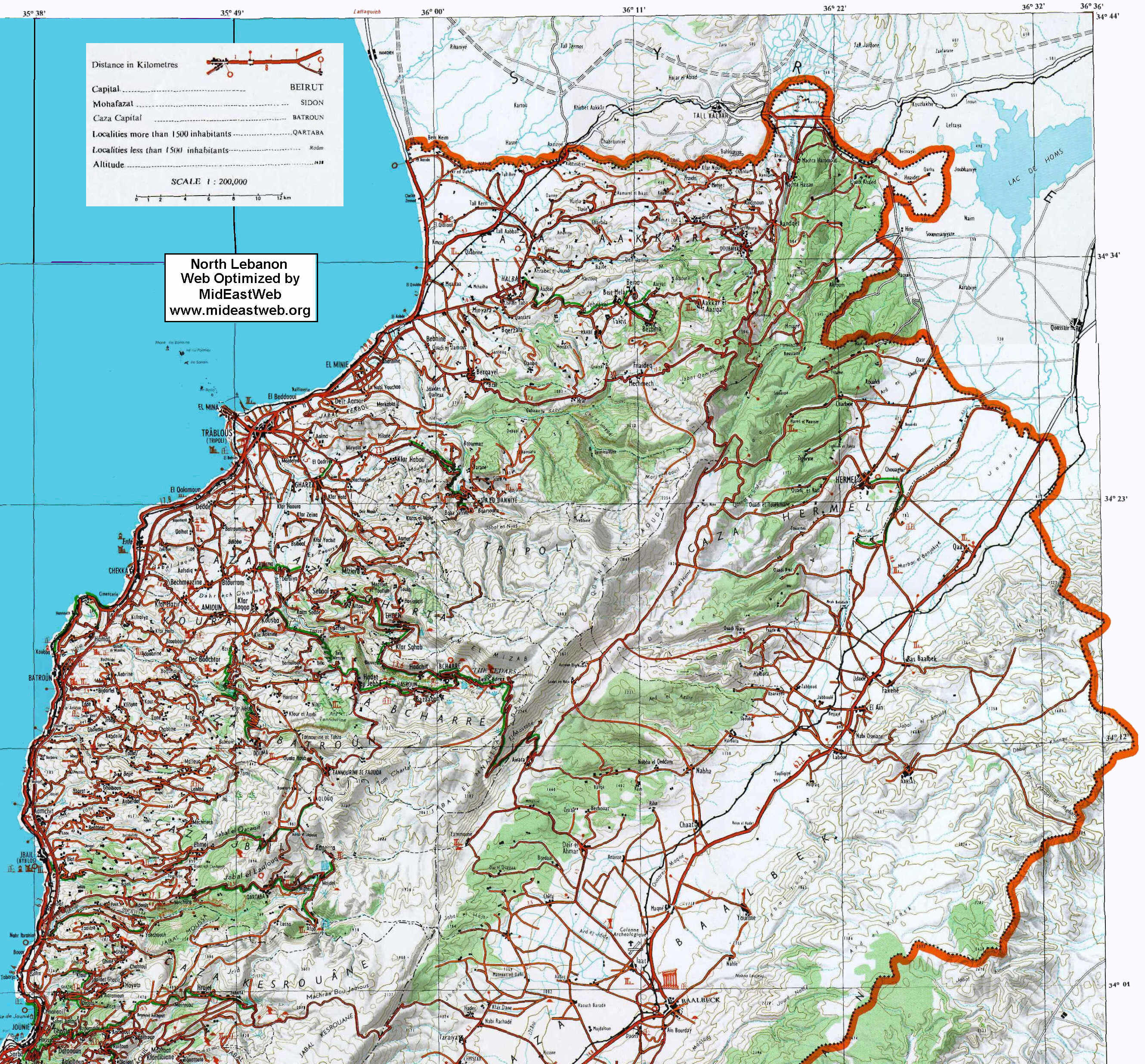 Map Of Northern Lebanon Detailed - Lebanon map