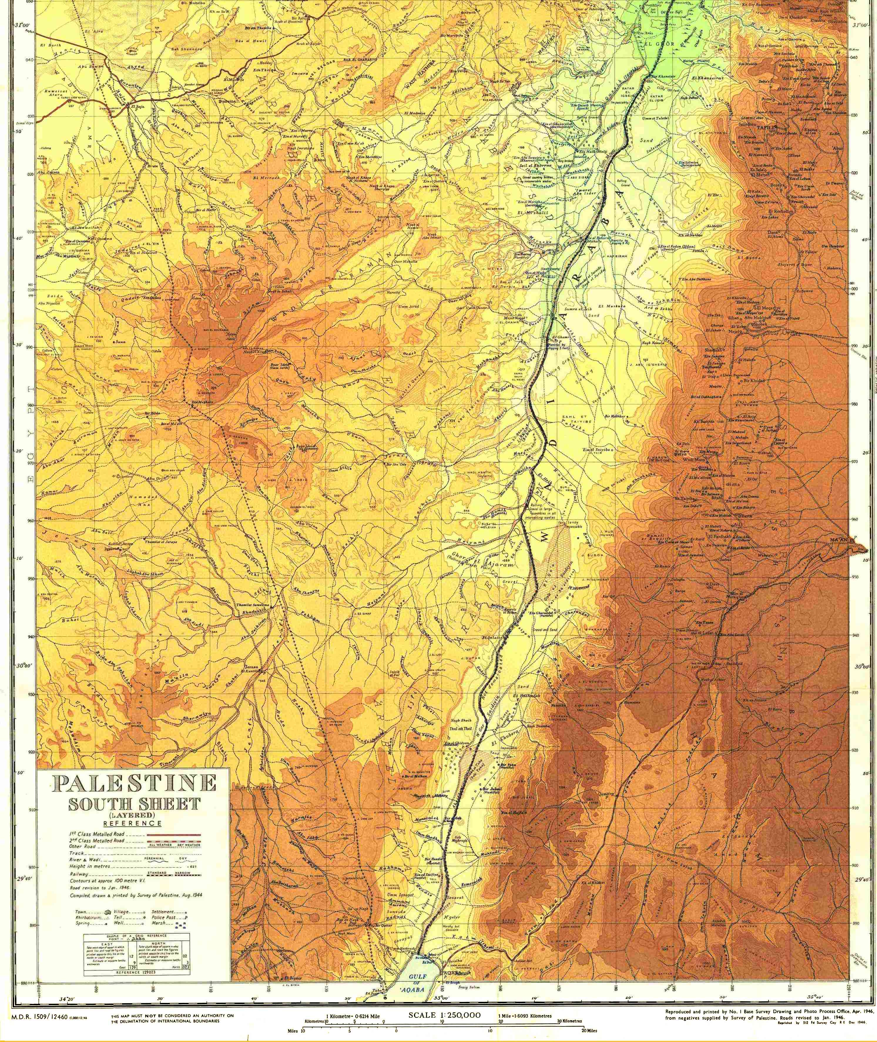 Detailed Map of southern PalestineIsrael 1946  Used in
