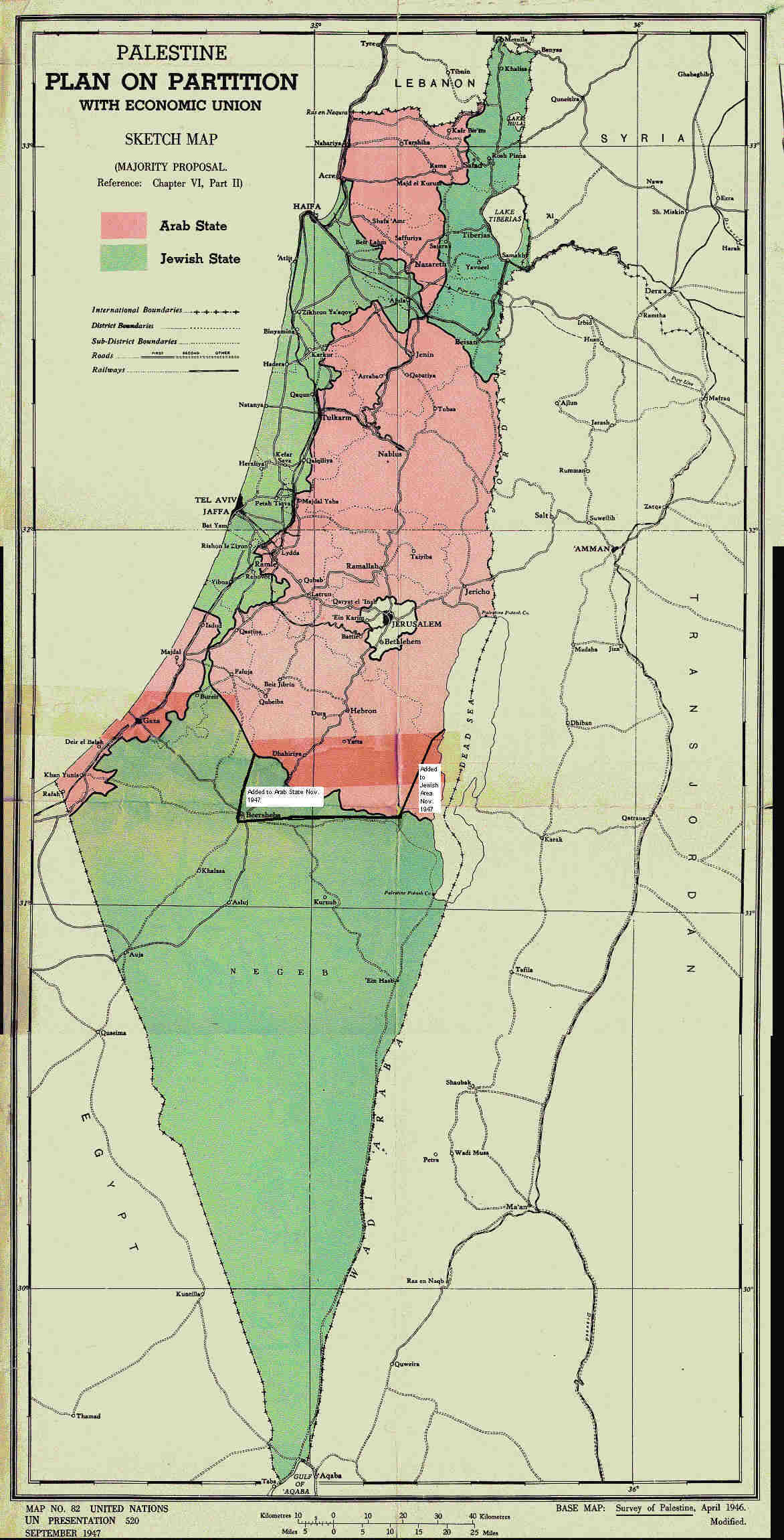 Detail Map Of UNSCOP Partition Plan For Palestine Majority Report - Un map of egypt